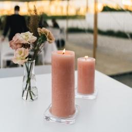Glazen kaarsen schaaltje