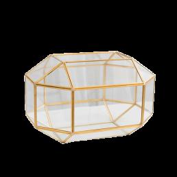 Glazen enveloppendoos goud geometrisch
